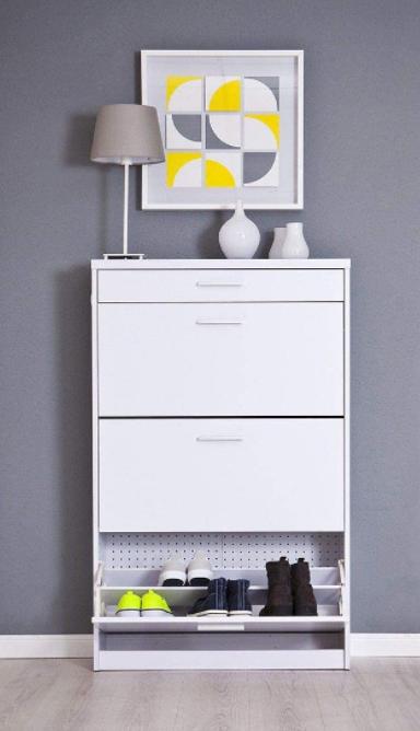 mueble zapatero blanco con cajón